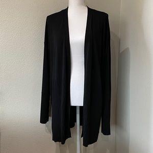 ANN TAYLOR XL Black Ribbed Solid Open Cardigan